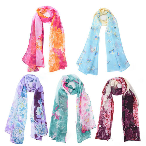 Delle donne del fiore di farfalla Stampa chiffon sciarpa morbida Wrap scialle CR