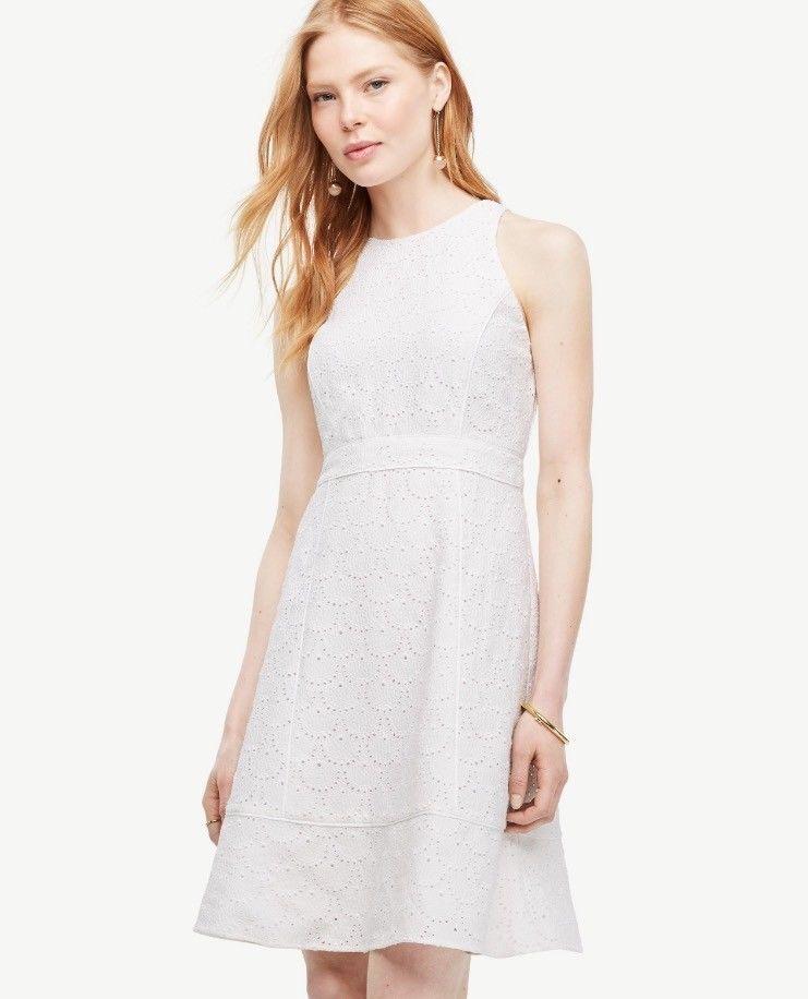 NWOT Ann Taylor Petite Eyelet Flare Dress in Weiß Größe 0P