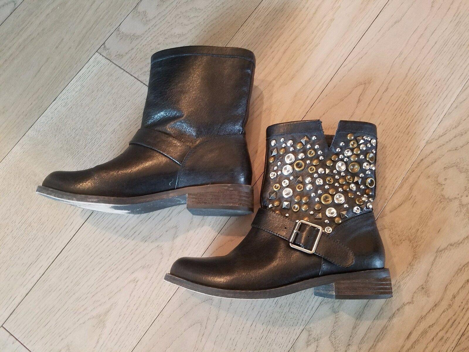 Women's STEVE MADDEN Galia Black Leather Studded Boots; $150; Sz 7;  Ret $150; Boots; EUC 53054f