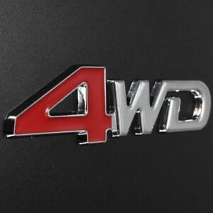 Silver Chrome & Red 4WD 3D Metal Emblem Badge Sticker 4x4 4 Wheel Drive SUV