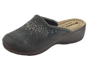Dettagli su Pantofole InBlu per donna in tessuto grigio sottopiede anatomico in pelle