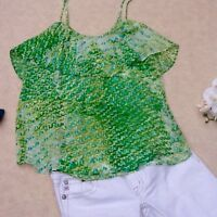 Romeo & Juliet Couture Green Ruffle Top Large $95
