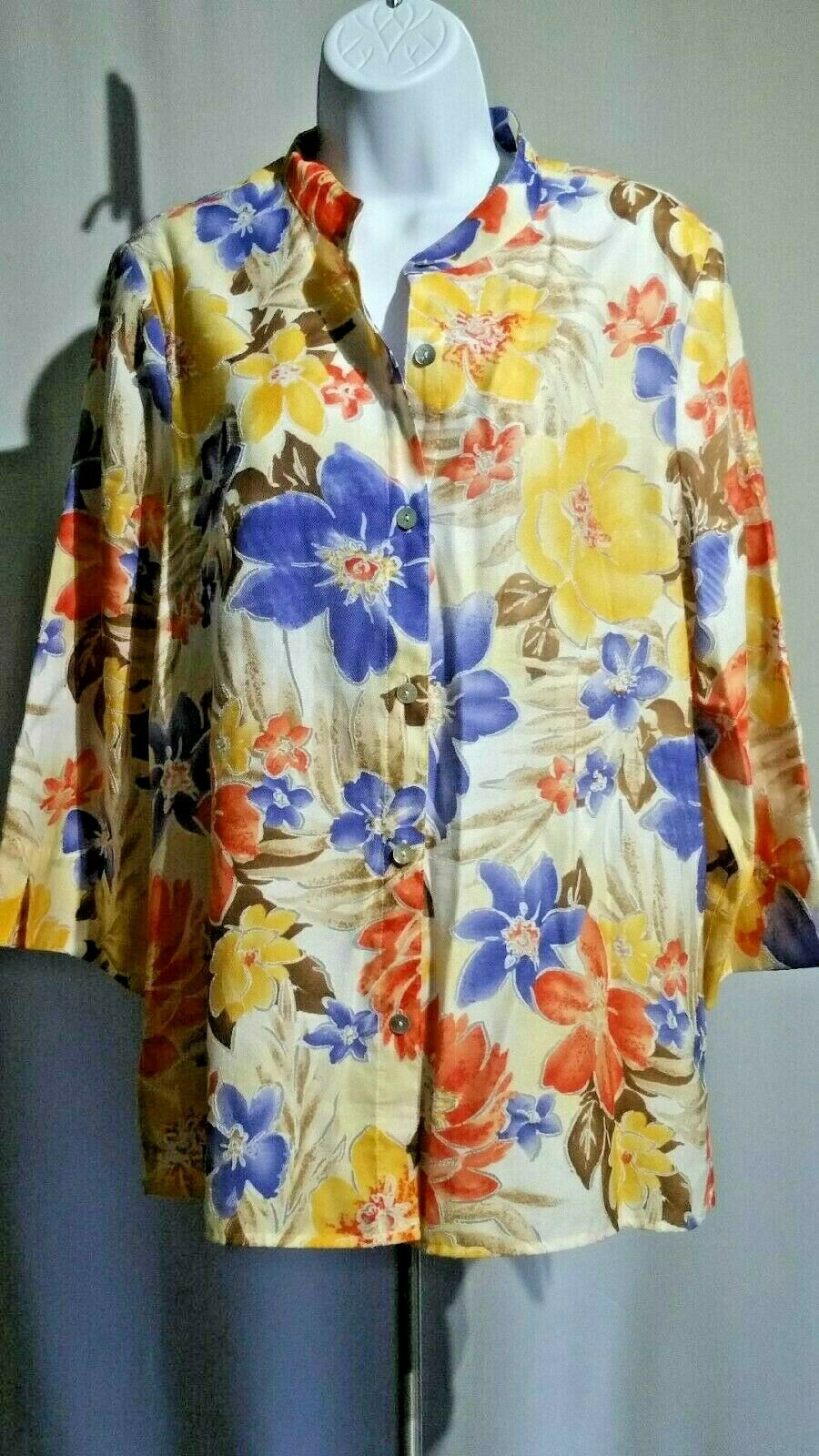 Alfrot Dunner  Floral Print Blouse Shirt Top MulticolGoldt   Sz 12   Pre-Owned