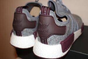 Adidas-NMD-R1-Runner-Grey-Maroon-Burgundy-Wool-CQ0761-Sz-8-12