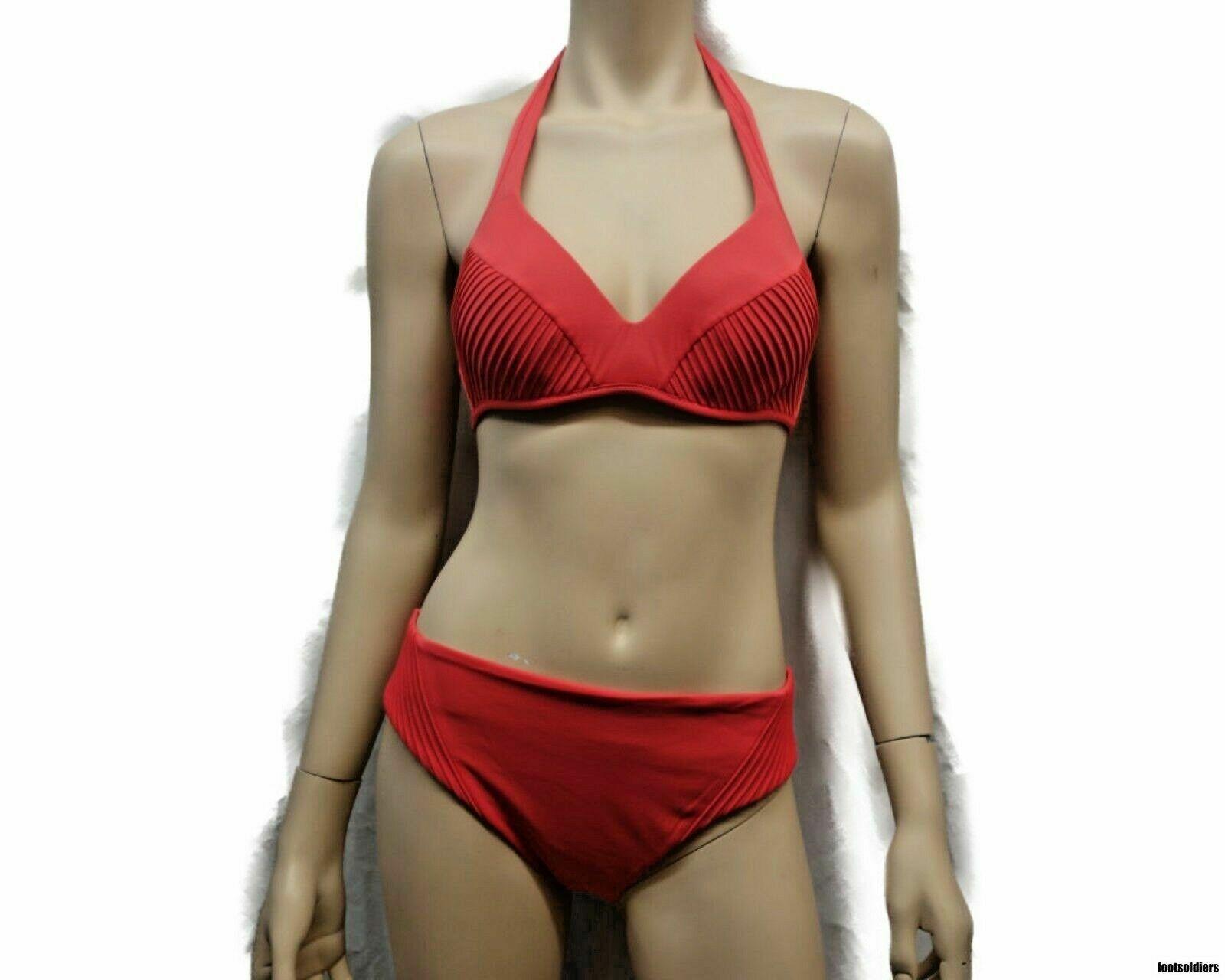 La Perla 2 Pièces Bikini Maillot de Bain Dos Nu Couleuris Corail Taille 10 800599-