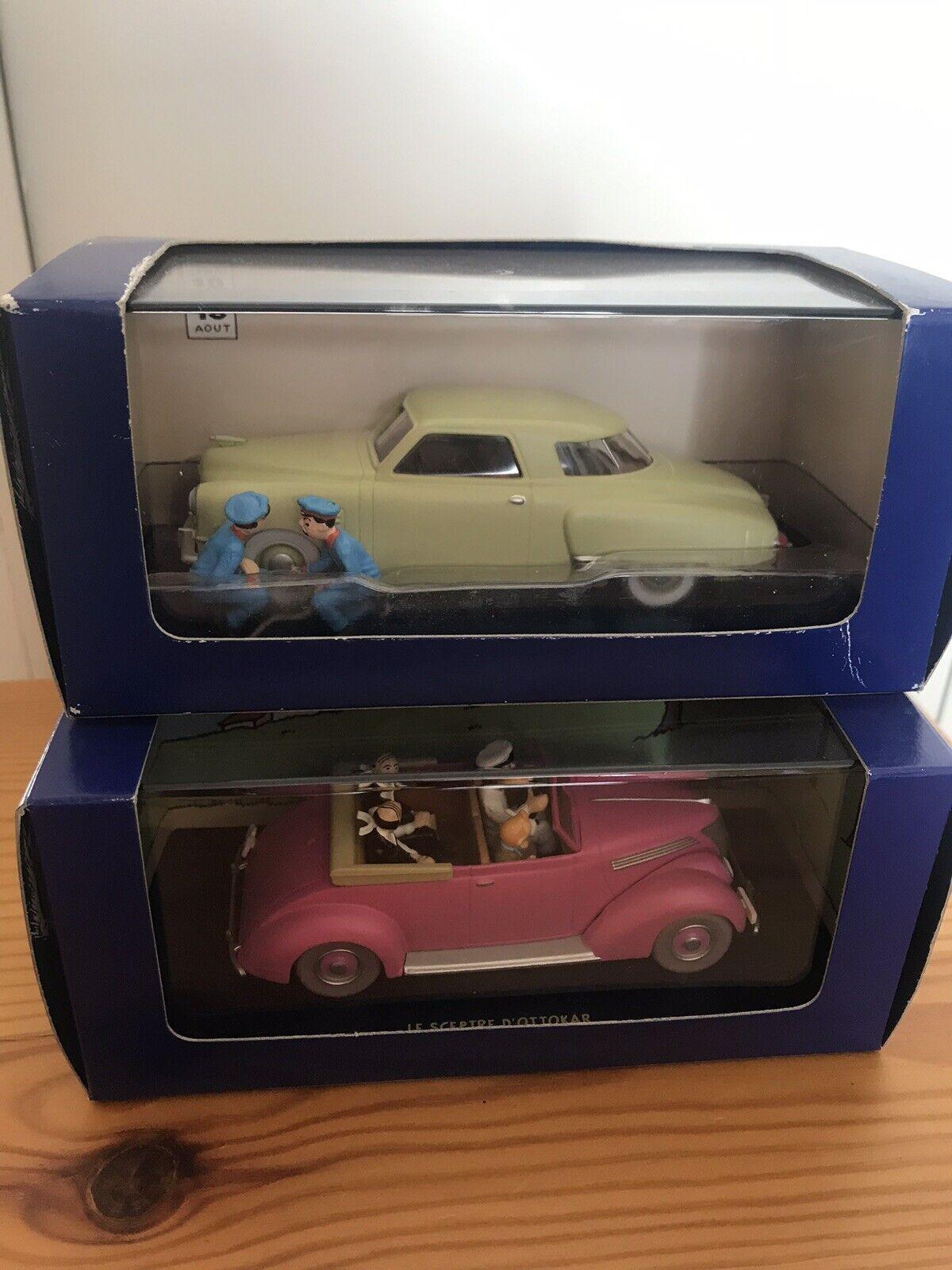 Deux voitures Tintin n°66 et n°69 de la collection Atlas.