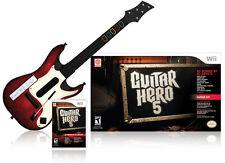 NEW Nintendo Wii Guitar Hero 5 Wireless Guitar Controller & Game Bundle RARE