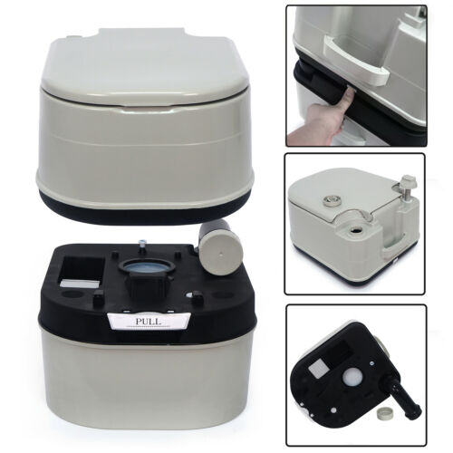 24L Portable Toilet 6 Gallon Flush Travel Camping Outdoor//Indoor Commode Potty G