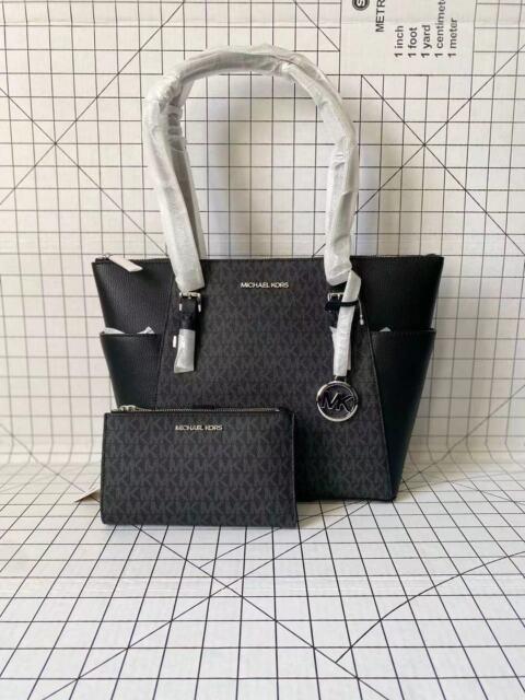 NWT Michael Kors Charlotte Top Zip Tote MK Signature Shoulder Bag Black&Wristlet