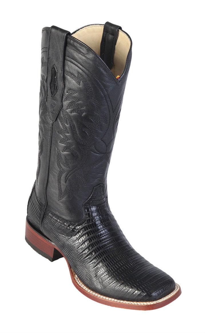 Los Altos BLACK Genuine Handmade Teju Lizard Western Boots Square Toe EE+