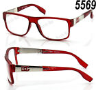 New DG Eyewear Clear Lens Frame Glasses Fashion Womens Designer Square Nerd Red