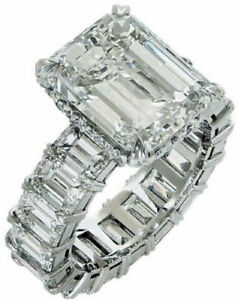 925 Sterling Silver Cz Wonderful White Emerald Cocktail Party Womens Rings Gift