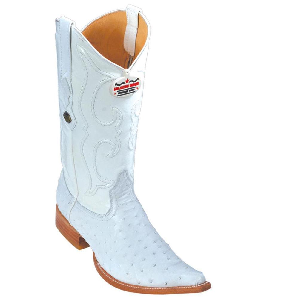 Los Altos Genuine WHITE Ostrich 3X Toe Boots Handmade Western Cowboy D