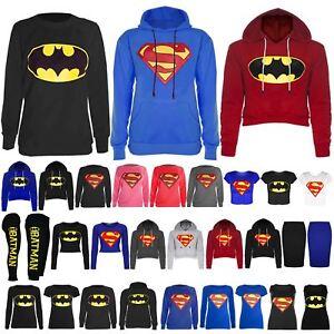 b1d867fa5af Womens Ladies Superman Batman Cap Long Sleeves T Shirt Sweatshirt ...