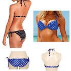Cute Retro Polka Dots Pucker Bandeau Bikini Push Up Paded Bra Swimwear Swimsuit