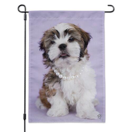Shih Tzu Dog In Pearls Lavender Garden Yard Flag