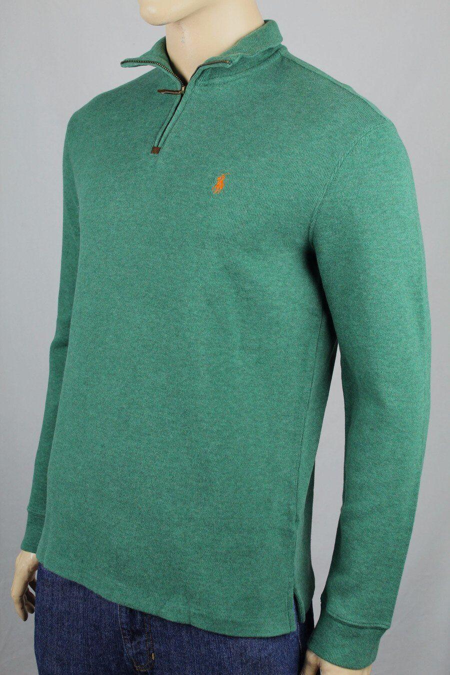 Polo Ralph Lauren Green 1 2 Half Zip Sweater orange Pony NWT