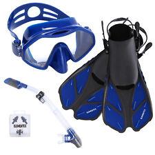 20a46d244 ELEMENTEX Scuba Diving Mask and Dry Top Snorkel Set w  Trek Fins   Mesh Bag