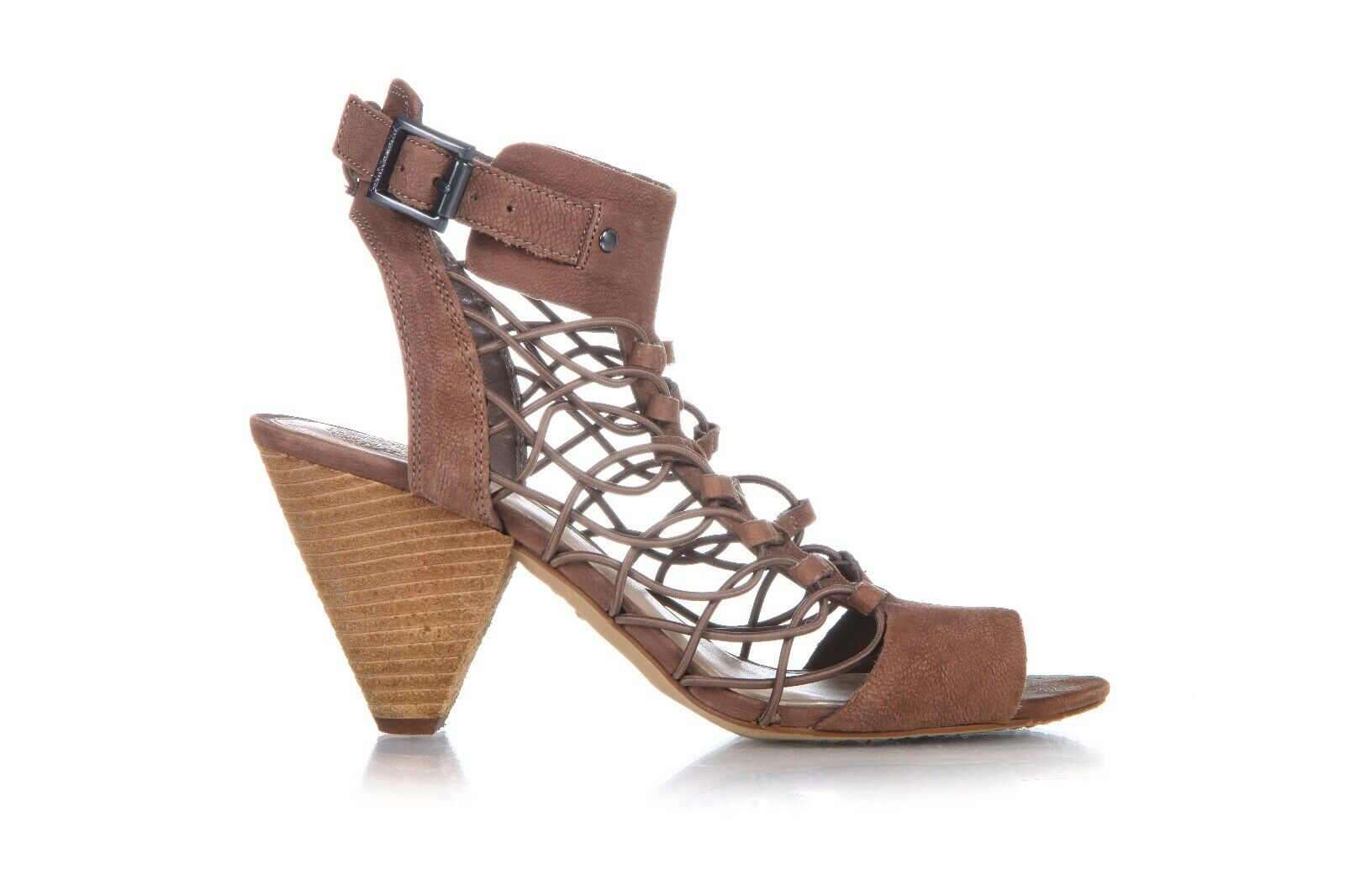VINCE CAMUTO Caged Sandals Size 7.5 M Leather Brown Block Heel Peep Toe Strappy