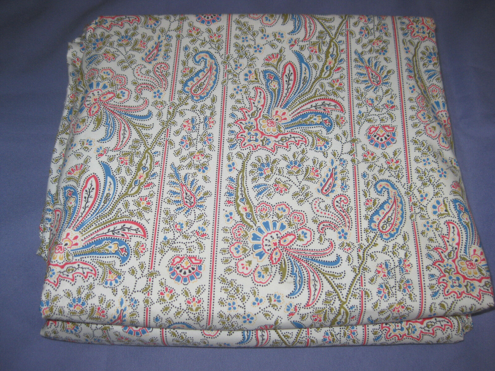 RALPH LAUREN Paisley Full  Double Flat Sheet Cotton