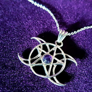 Fashion 925 Silver Stars and Moon Amethyst Topaz Gemstone Pendant Without Chain
