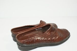 Trotters-Heather-Woven-Brown-Mules-Slides-Leather-Brazil-Women-039-s-Size-9-M-Shoes