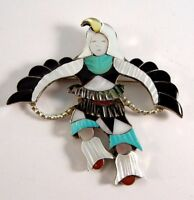 Zuni Handmade Sterling Silver Eagle Dancer Pendant And Brooch - Jonathan Beyuka