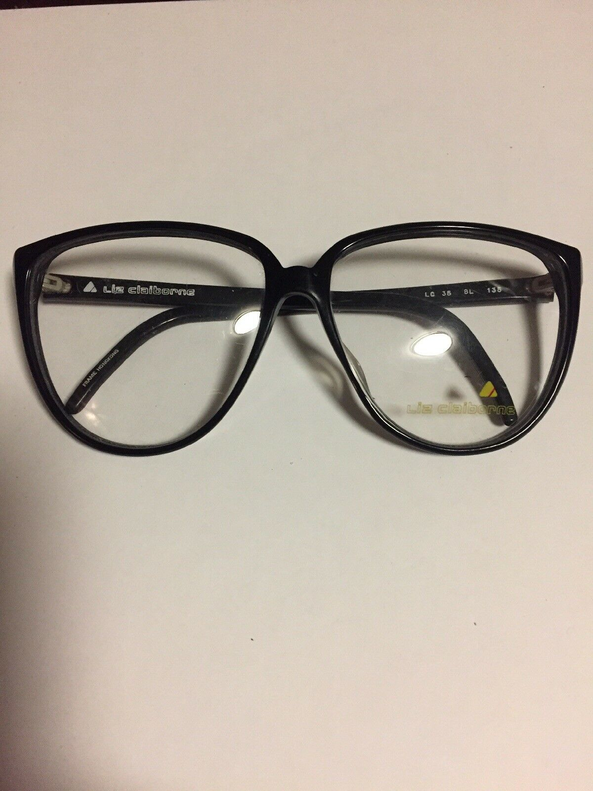Vintage New Liz Claiborne Cat Eye Black Plastic Eyeglass Frames 60 ...