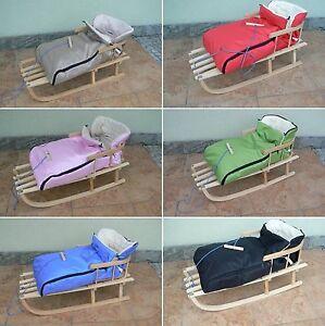 holzschlitten mit r ckenlehne mit winterfu sack 10 farben schlitten aus holz ebay. Black Bedroom Furniture Sets. Home Design Ideas