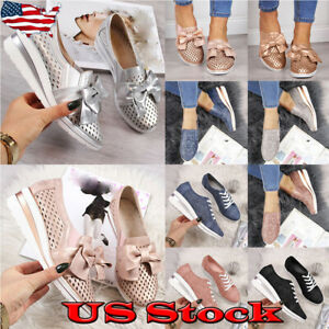 Womens-Wedge-Mid-Heel-Loafers-Sneakers-Platform-Slip-On-Casual-Pumps-Shoes-Size
