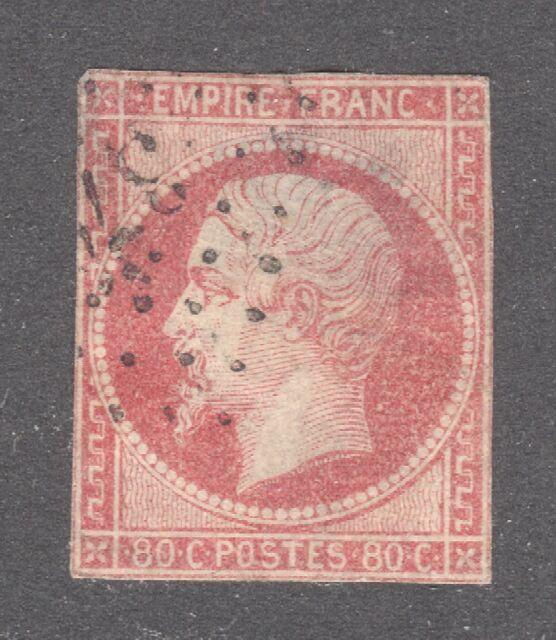 FRANCE STAMP #20   80c NAPOLEON  1860    USED