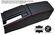 RED STICH CENTRE CONSOLE & ARMREST LEATHER COVERS FOR HONDA CRX DEL SOL 92-98