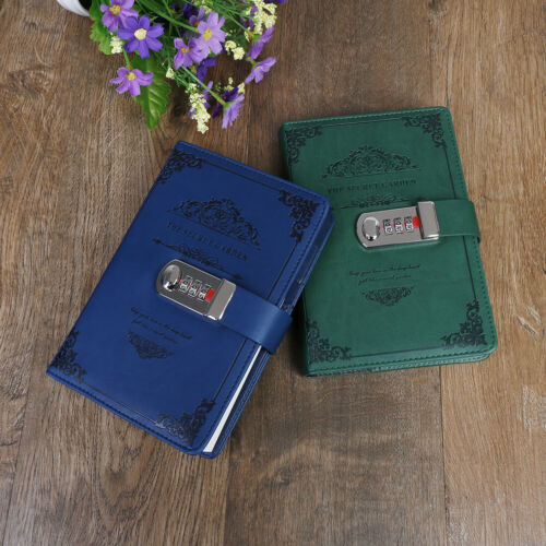 Stationery notebook retro password book with lock diary thread installed note op
