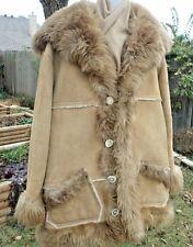 "Mens Overland Sheepskin Co Taos NM Shearling Suede Coat Shawl Collar 17"" 2XL ?"