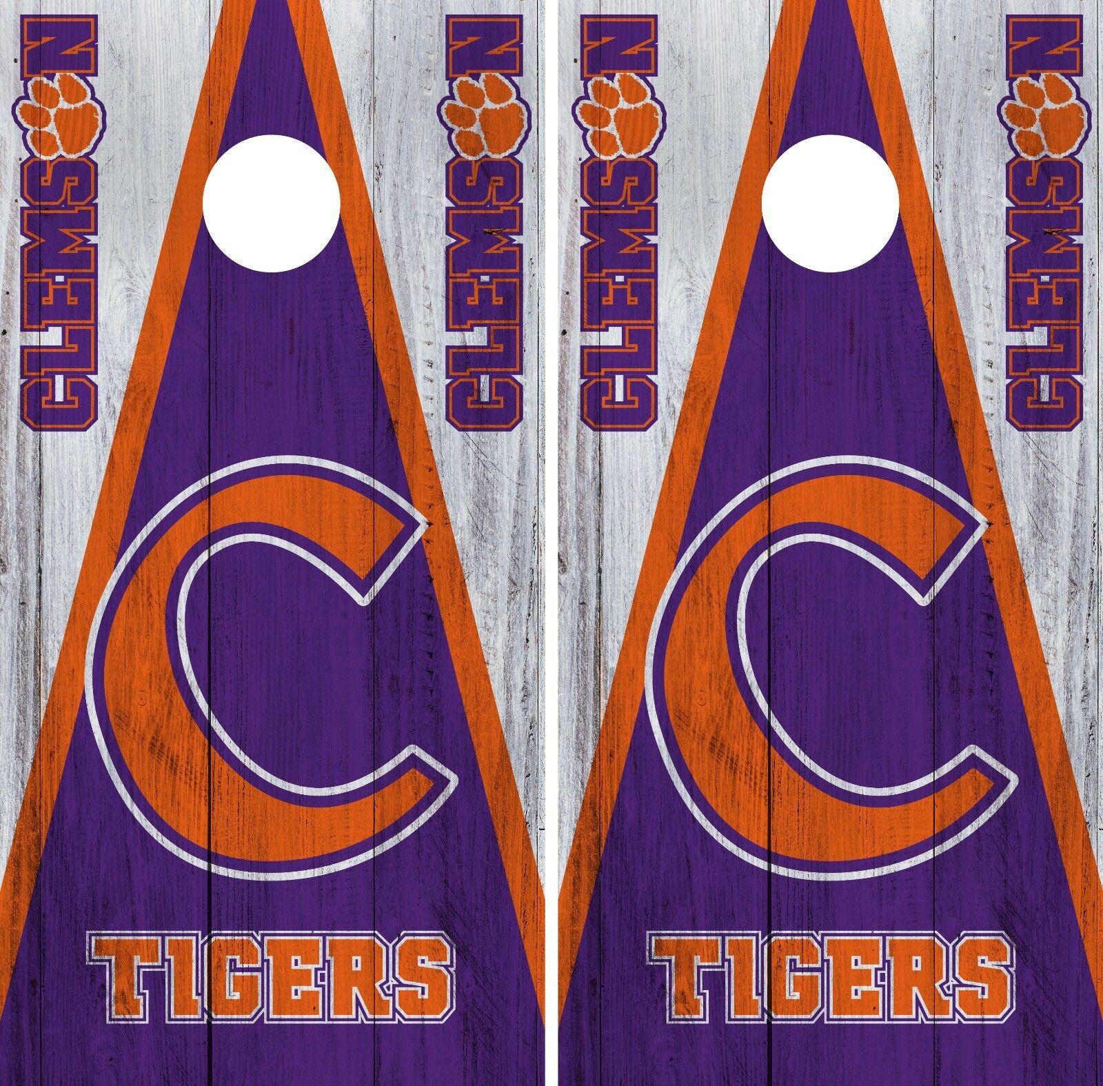 Clemson Tigers Cornhole Wrap NCAA College Game Board Skin Vinyl Decal Set CO755