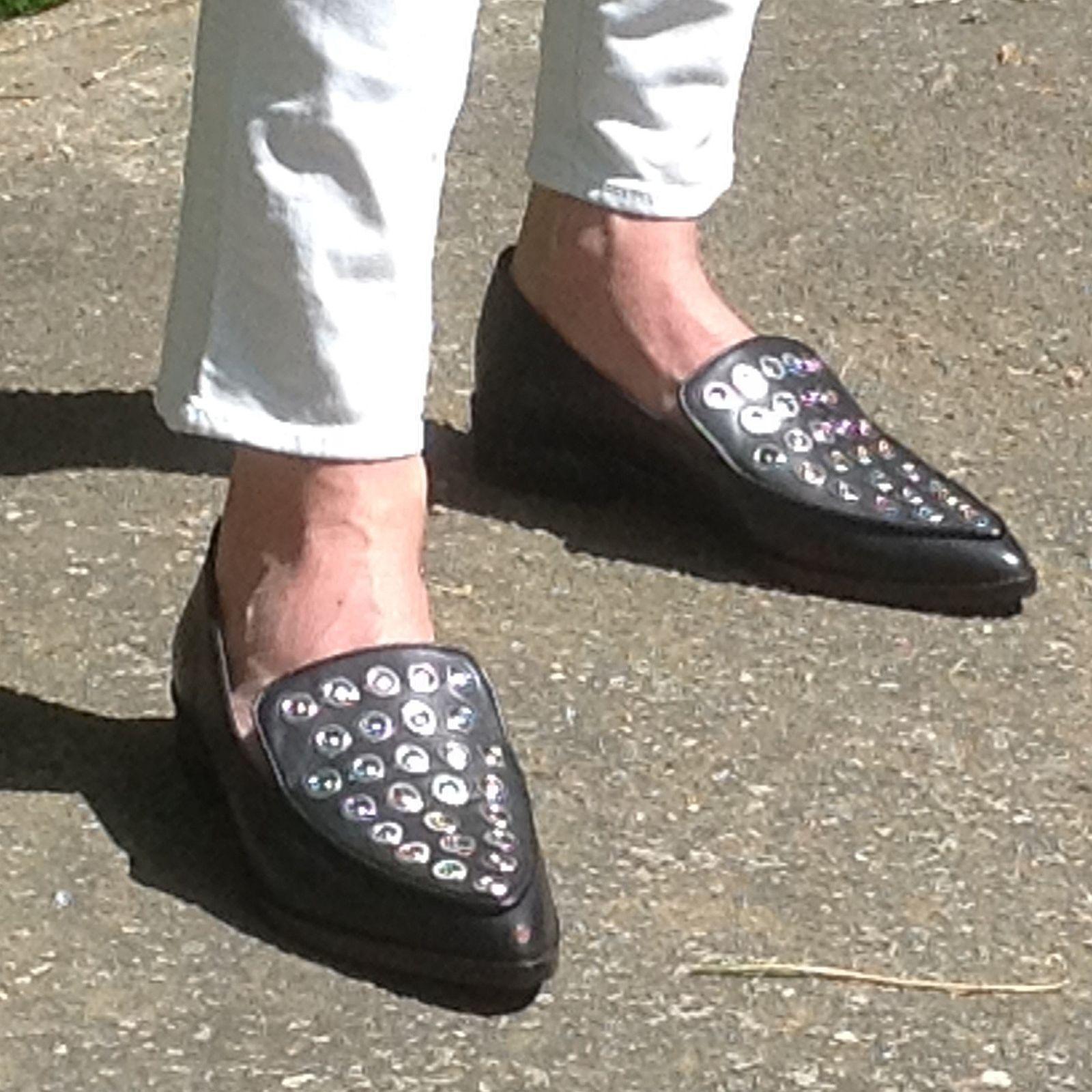 ZARA cuir noir clous argentés Flat chaussures 37 4 BNWT