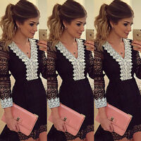 Womens Lace Long Sleeve Ball Gown Formal Evening Party Cocktail OL Mini Dress