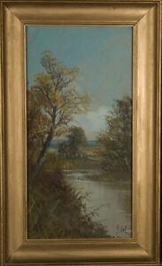 Signed-amp-framed-Early-20th-Century-Gouache-Rural-River-Scene