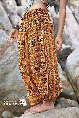 Harem Hippie Pants Khaki Yoga Festival Om Ohm Loose Boho Festival Gypsy Aladdin