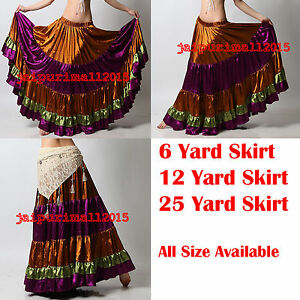 Mix Color Satin 6//12//25 Yard Tiered Gypsy Skirt Belly Dance Ruffle Flamenco Jupe