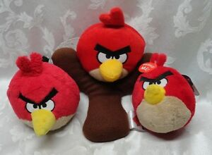 Details about ANGRY BIRDS Red Slingshot SOUND Plush Leader of the Pack 3 Pc  EUC & NWT 11