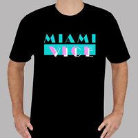 New Miami Vice Logo 80's Retro TV Show Men's Black T-Shirt Size S to 3XL