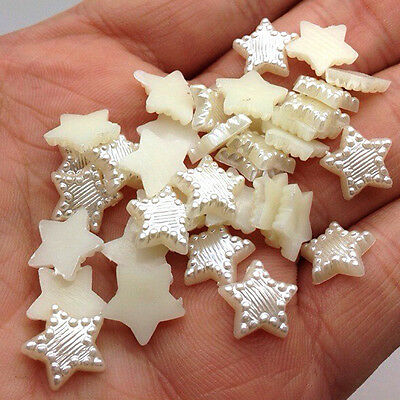 NEW DIY 100pcs 12MM Resin Beige White Star Flat back Scrapbooking Craft