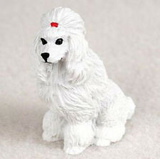 POODLE WHITE TINY ONES DOG Figurine Statue Pet Lovers Gift Resin