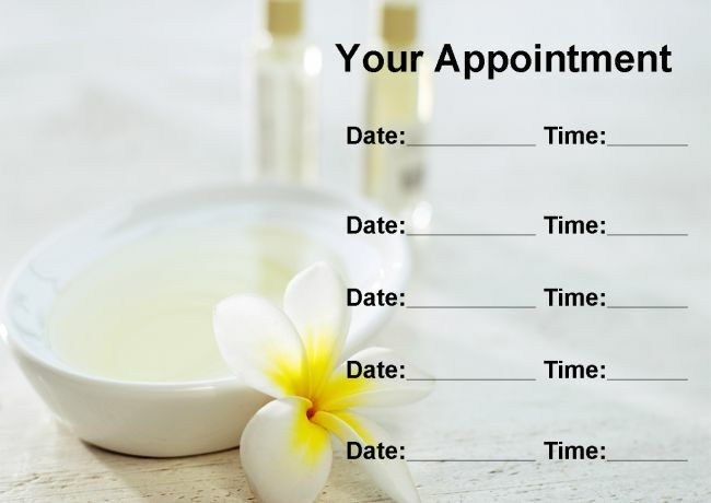 Beauty Treatment Spa Massage Salon Weiß Personalised Appointment Cards
