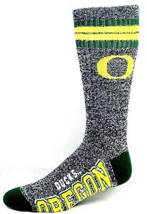 Oregon-Ducks-NCAA-Four-Stripe-Heather-Gray-Green-Crew-Socks