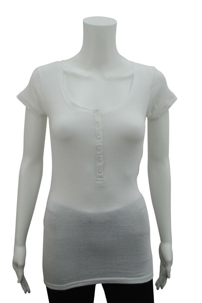 À Manches Courtes Femme En Coton Côtelé Top Blanc Taille 6 Pc