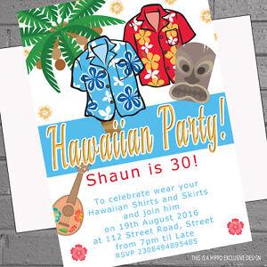 hawaiian aloha shirts tiki party birthday party invitations x 12