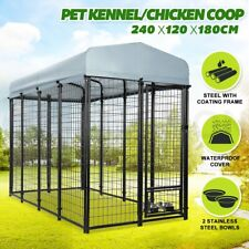 Pet Dog Kennel Run Enclosure 2.4x1.2x1.8m Galvanised Steel Play Pen Fence Cover