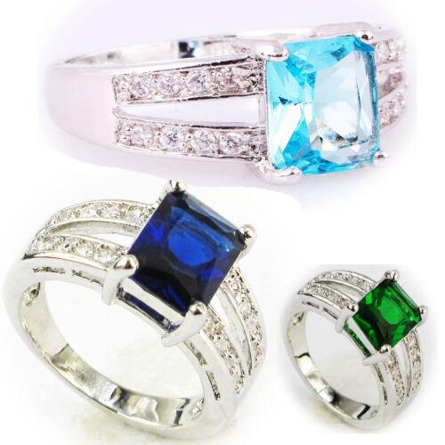 Wholesale Taille 6 ~ Taille 9 Exquis Saphir Argent 925 Glod rempli 4 CT anneau cadeau